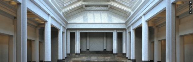 Numérisation et hypothèse de restitution du projet d'aménagement de Lucien-Jacques Baucher du grand hall du Palais des Beaux-arts de Victor Horta